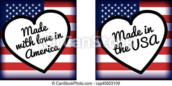 made with love in.. USA or america - csp45653109