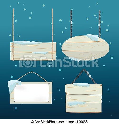 madeira aborda, neve, sinal, vetorial, natal - csp44109065