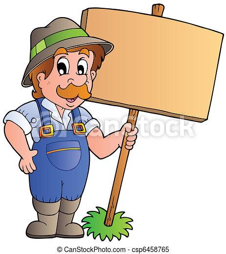 madeira, agricultor, tábua, segurando, caricatura - csp6458765