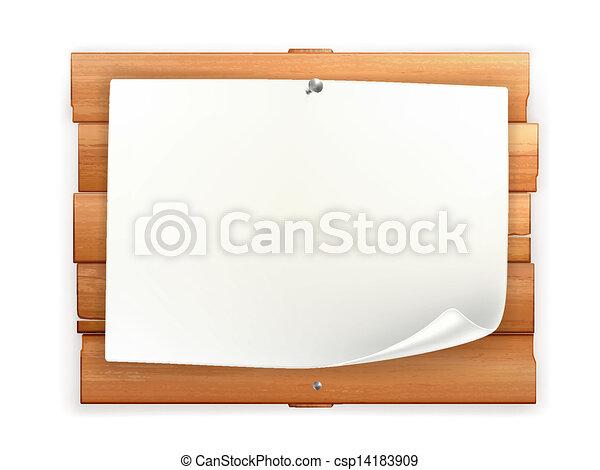 madeira, anúncio, tábua - csp14183909