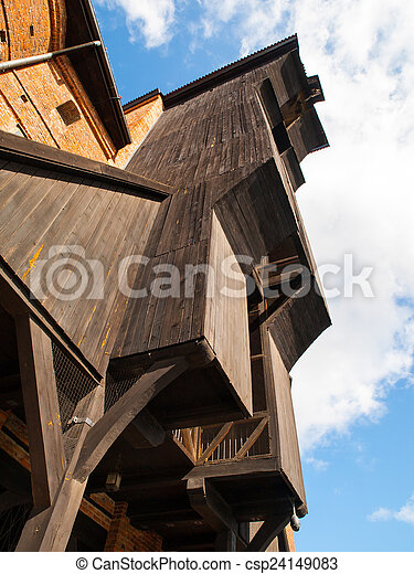 madeira, antigas, guindaste, gdansk - csp24149083