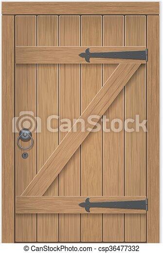 madeira, antigas, porta - csp36477332