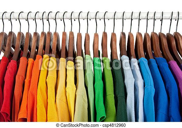 madeira, arco íris, cabides roupas, cores - csp4812960