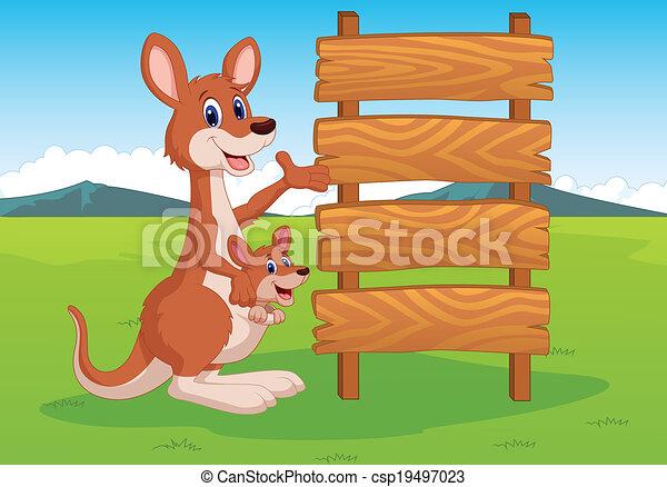 madeira, canguru, caricatura, sinal - csp19497023