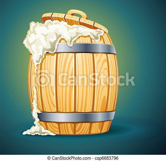 madeira, cerveja, cheio, barril, espuma - csp6683796