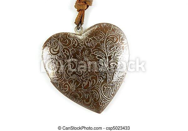 madeira, coração, branca, isolado, handcraft - csp5023433