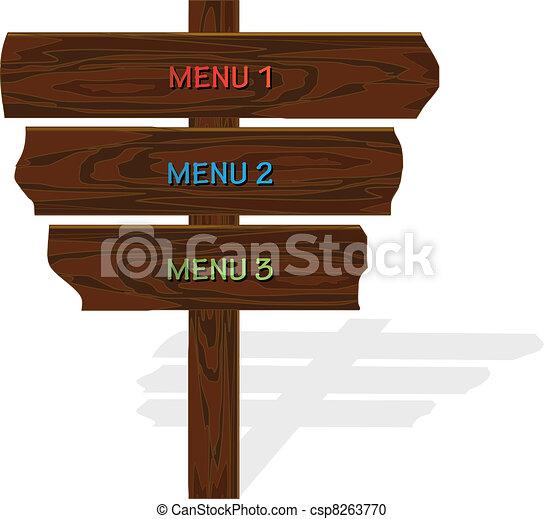 madeira, menu, vetorial - csp8263770