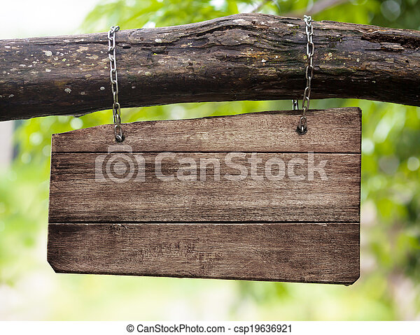 madeira, sinal branco, tábua, ramo, penduradas - csp19636921