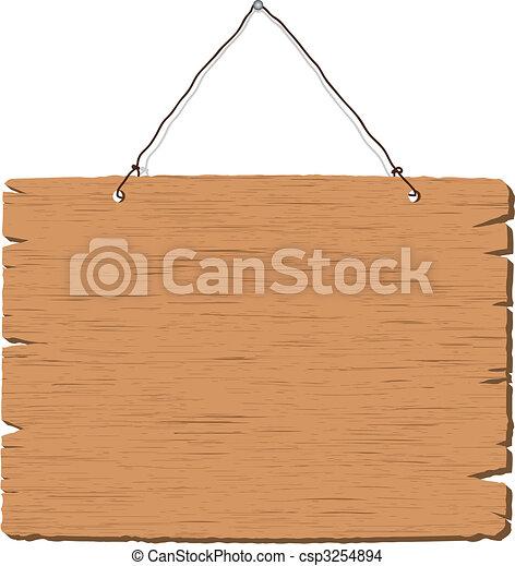 madeira, sinal dependurado, em branco - csp3254894