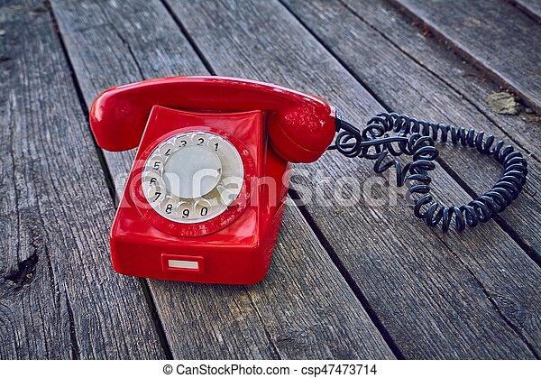 madeira, telefone velho, placas - csp47473714