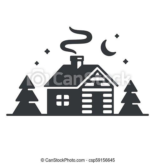 madeiras, cabana, ícone - csp59156645