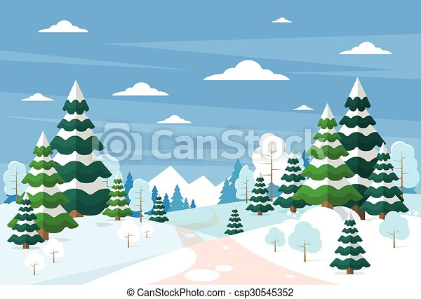 madeiras, inverno, neve, pinho, fundo, árvores, natal, paisagem, floresta - csp30545352