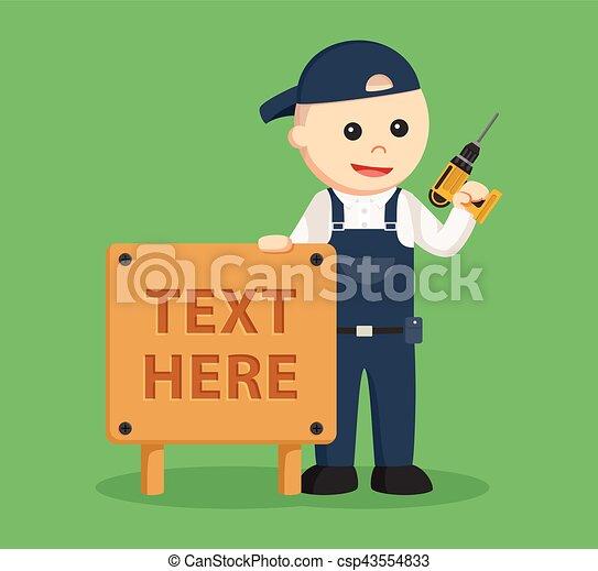 Carpintero con signo de madera - csp43554833
