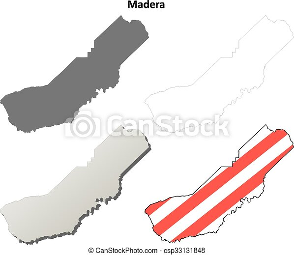 Madera County California Outline Map Set