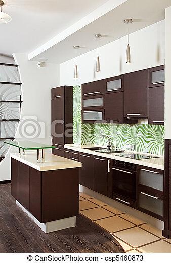 Madera dura, interior, muebles, moderno, cocina. Madera dura ...