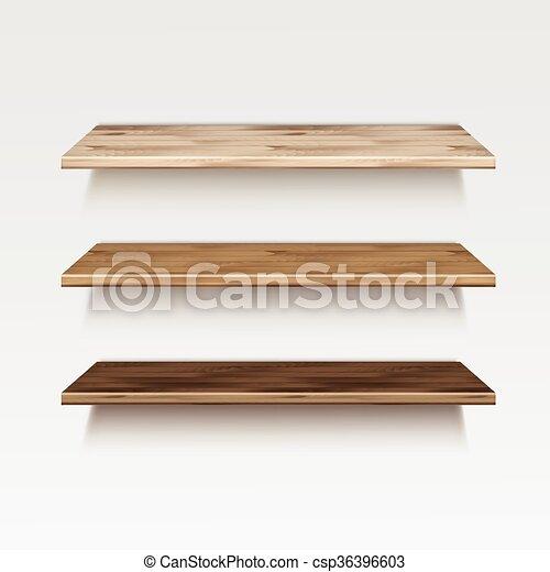 Madera estantes de madera estante aislado pared vector plano