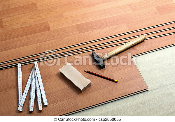 Piso de madera y herramientas - csp2858055