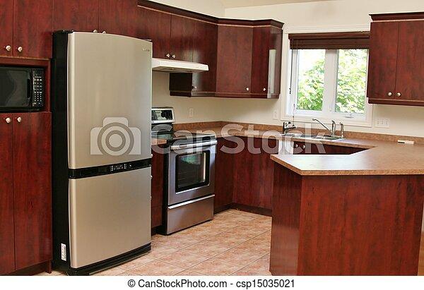 Madera moderno gabinetes cocina madera inoxidable for Gabinetes de cocina modernos