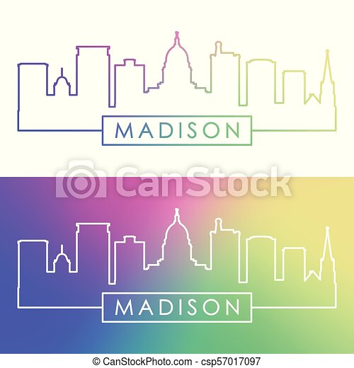 Madison skyline. Colorful linear style. - csp57017097