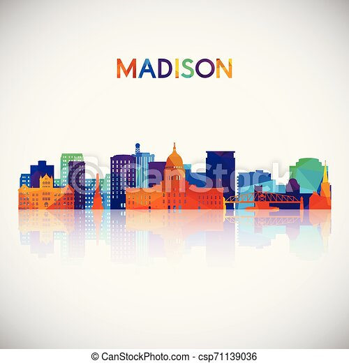 Madison skyline silhouette in colorful geometric style. - csp71139036