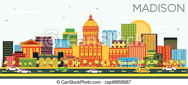 Madison Skyline with Color Buildings and Blue Sky. - csp48858687