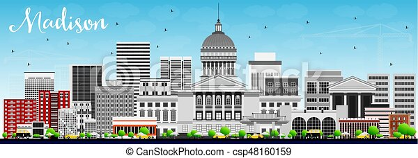 Madison Skyline with Gray Buildings and Blue Sky. - csp48160159