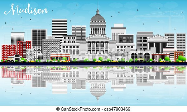 Madison Skyline with Gray Buildings, Blue Sky and Reflections. - csp47903469