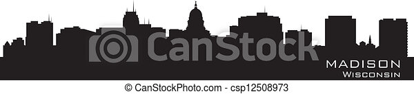 Madison, Wisconsin skyline. Detailed city silhouette. - csp12508973