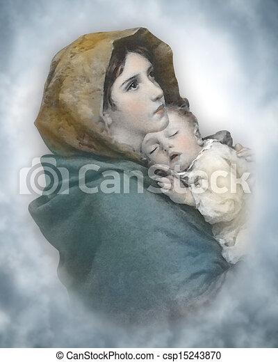 Madonna and Child Nativity - csp15243870