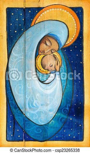 Dipinto Madonna Infante Wood Gesù