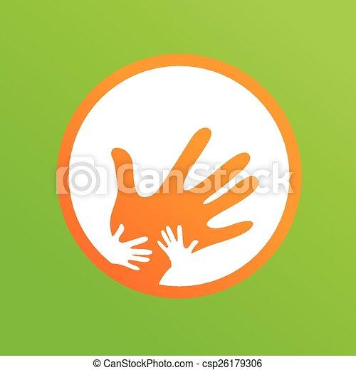 madre, bambini, insieme, mani - csp26179306