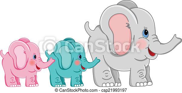 Madre Bebes Elefantes Elefantes Imagen Vectorial Scalable