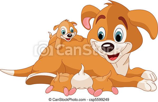 Perros madre cuidando cachorros lindos - csp5599249