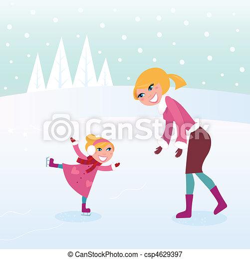 madre, ragazza, ghiaccio, lei, pattinaggio - csp4629397