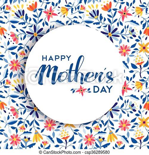 Diseño de pósters florales de las madres felices - csp36289580