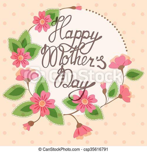 Madres, vendimia, marco, floral, día, tarjeta, feliz. Madres ...