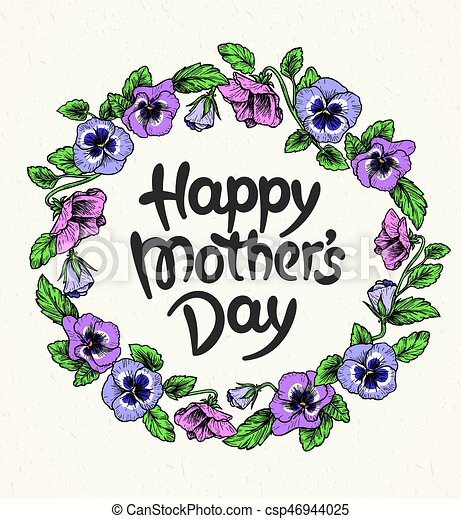Madres, vendimia, marco, texto, botánico, día, tarjeta ...