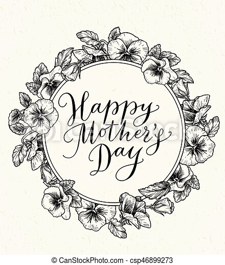 Madres, vendimia, marco, texto, botánico, día, tarjeta, feliz. Texto ...