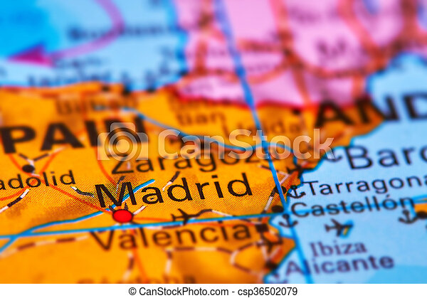 Madrid, capital city of spain on the map. Madrid, capital city of ...