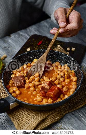 Madrid Espagnol Ragout Cocido Madrileno Typique Chorizo