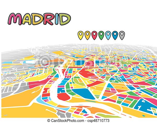 Full Map Of Spain.Madrid Spain Downtown 3d Vector Map