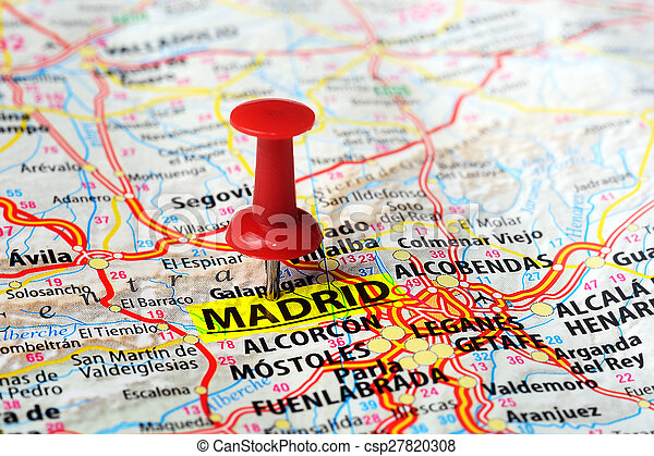 Close up of madrid ,spain map and red pin - travel concept.