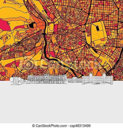 Map Of Spain Landmarks.Madrid Spain Skyline Map