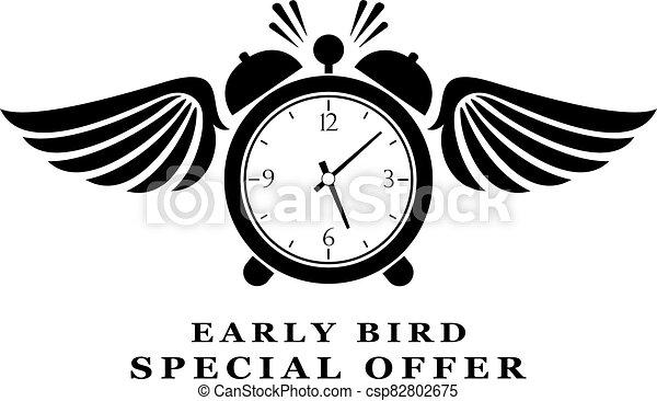 madrugador, oferta, resumen, pictogram, especial - csp82802675
