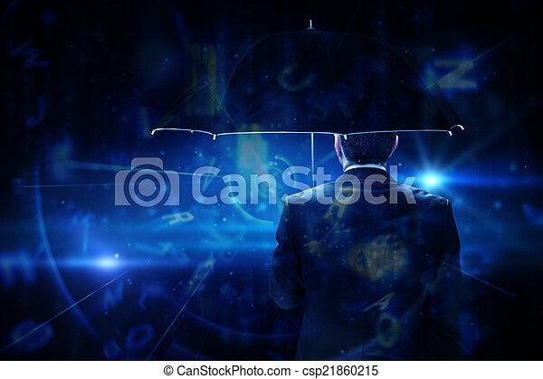 Una imagen compuesta de hombre de negocios maduro sosteniendo un paraguas - csp21860215