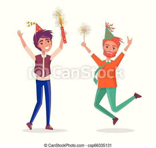 maenner, feuerwerk, feiern, geburstag, karikatur, party - csp66335131