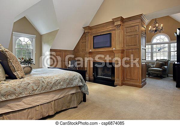 El dormitorio principal con chimenea - csp6874085