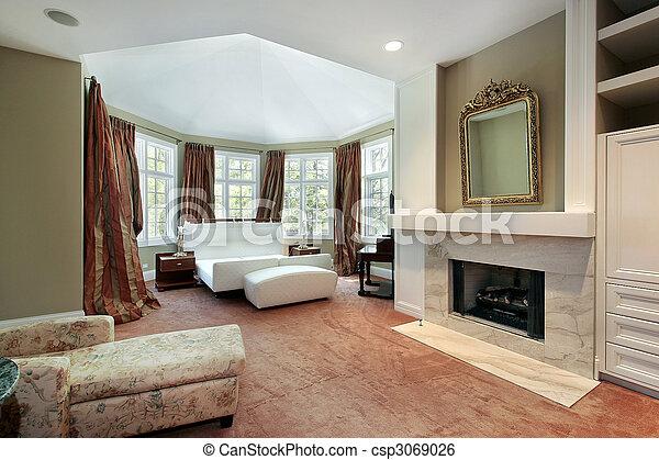 El dormitorio principal con chimenea - csp3069026
