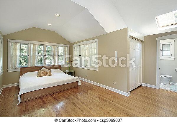 El dormitorio principal con claraboya - csp3069007