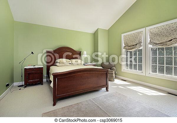 El dormitorio principal con paredes verdes - csp3069015